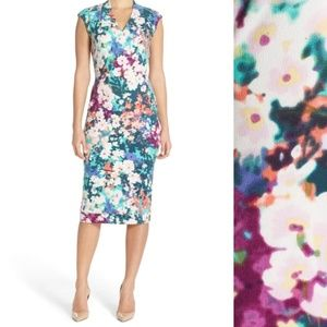 MAGGY LONDON BLUE FLORAL CREPE MIDI DRESS SZ 12